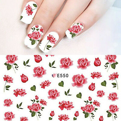 Nail Art Water Decals Stickers Transfers Pink Water Effect Flowers Rose E550 • 1.60£