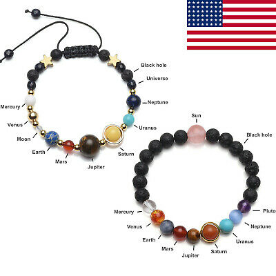 $6.57 • Buy 2pcs Universe Nine Planet Solar System Galaxy Stones Beads Braided Bracelet Gift