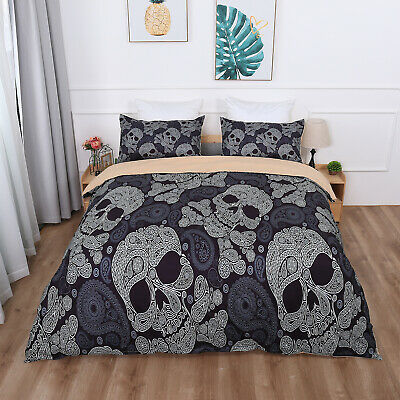 Gothic Skull Duvet Cover Bedding Set With Pillow Cases Single Double King Sizes • 32.99£
