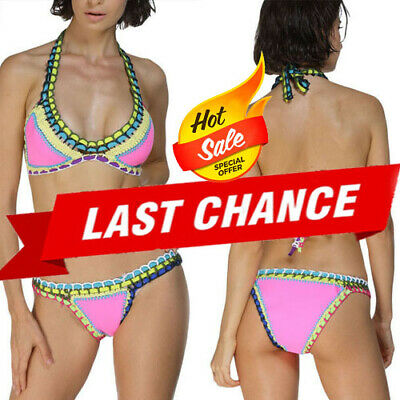 $ CDN5.09 • Buy 2PC Hot Pink Multicolor Crotchet Padded Swimsuit Bikini Neoprene Swimwear M-2XL