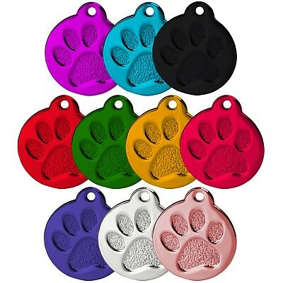 Round Paw Alloy Dog Id Name Tag Disc Personalised Engraved Pet Identity Tags • 2.99£