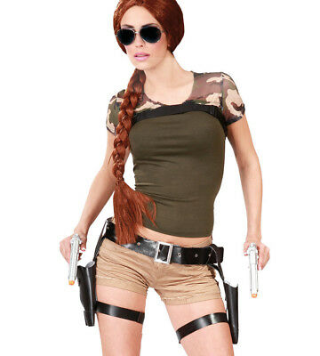 Lara Croft Style Tomb Raider Twin Guns & Holster Fancy Dress Thigh Pistols Gun • 10.99£