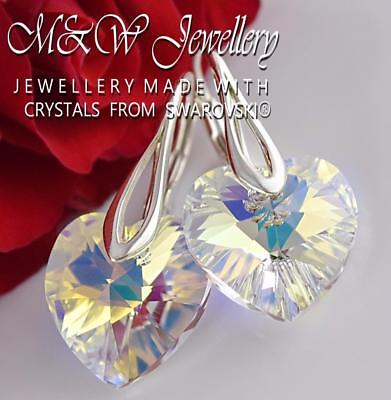 £13.99 • Buy 925 Sterling Silver Earrings Heart Crystal AB 14mm Crystals From Swarovski®