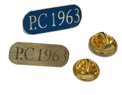 2 X POLICE UK SOLID BRASS LAPEL BADGE PIN PERSONALISED WITH OWN PERSONAL NUMBER • 6.99£