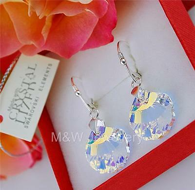 £15.99 • Buy 925 Sterling Silver Earrings Crystals From Swarovski® *shell* Crystal Ab 16mm