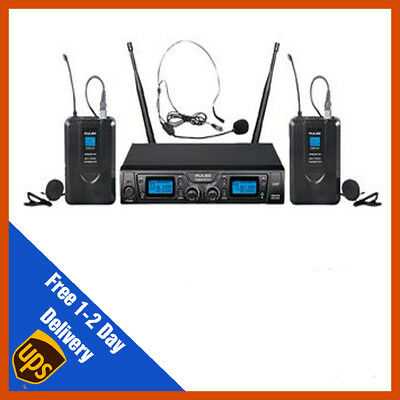 Pulse UHF Dual Headset Lavalier Wireless Microphone Mic System | DJ | PA  • 159.99£