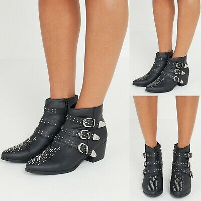 £12.99 • Buy New Women Ladies Studded Ankle Boots Shoes Chunky Mid Heel Size 3-8