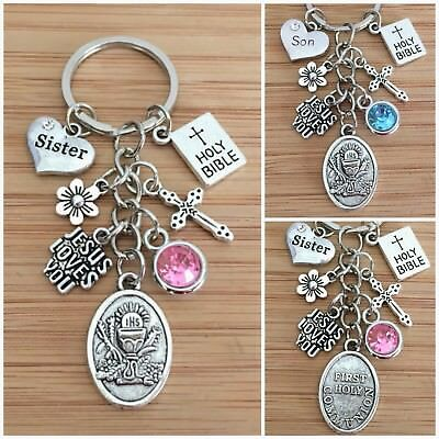 £5.99 • Buy FIRST HOLY COMMUNION Gift Personalised Charm Keyring - 1st Holy Communion
