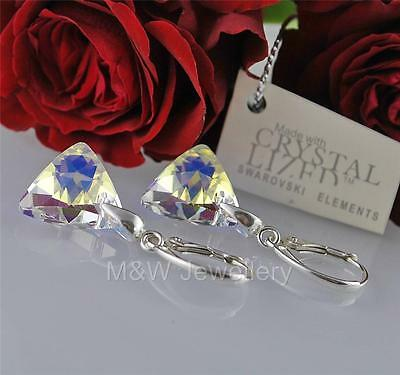 £16.99 • Buy EARRINGS CRYSTALS FROM SWAROVSKI® TRIANGLE CRYSTAL AB 16mm Sterling Silver 925