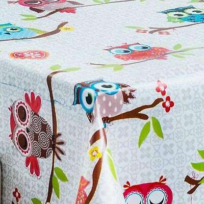 Pvc Table Cloth Funky Owls On Tree Dots Geo Flower Heart Leaves Multi Wipe Able • 9.50£