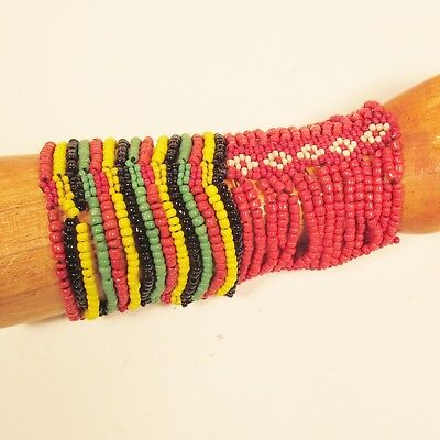 $11.99 • Buy Set Of 2 Red Rasta Colors Multi Strand Handmade Cleo Stretch Seed Bead Bracelets