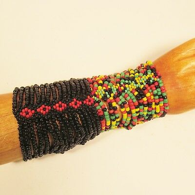 $11.99 • Buy Set Of 2 Black Rasta Colors Multi Strand Handmade Stretch Seed Bead Bracelets