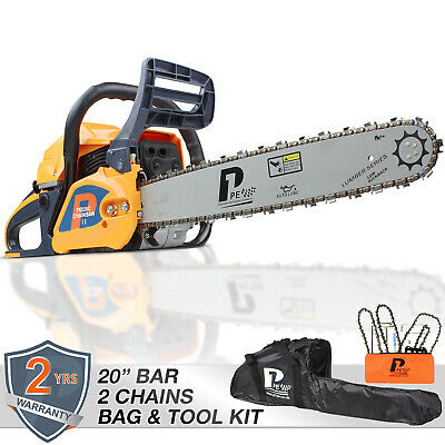 "View Details Petrol Chainsaw Easy Start 20"" Bar 62cc Powered By HYUNDAI X2 Chains, Tools, Bag • 125.98£"