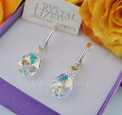 £13.99 • Buy 925 STERLING SILVER EARRINGS CRYSTALS FROM SWAROVSKI® ALMOND CRYSTAL AB 16mm
