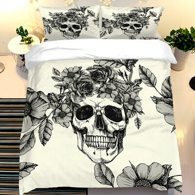 Gothic Skull Duvet Cover With Pillow Cases Single Double King Sizes Bedding Set • 28.99£