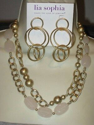 $ CDN31.37 • Buy LOT OF 2: Lia Sophia CASHMERE NECKLACE WITH GOLDEN MULTI-HOOP EARRINGS