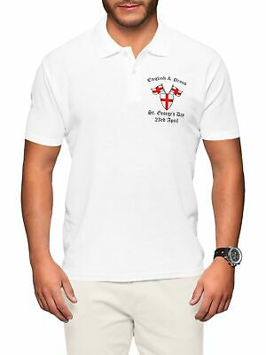 St Georges Day Embroidered Polo Shirt Men English & Proud Flag Red Cross L268 • 14.99£
