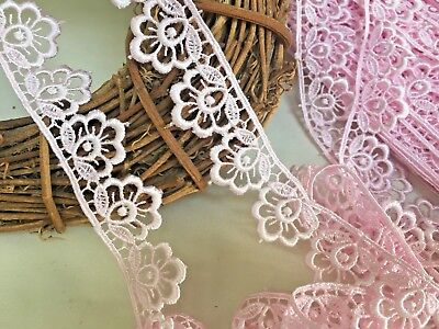 Bows Ribbon And Lace~Pretty Baby Pink 1.25 /3cm Flower Edge Satin Guipure Lace  • 3.39£