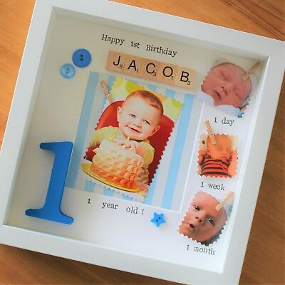 £30.99 • Buy Baby's First 1st Year Birthday Scrabble Gift Baby Frame Personalised Boy Girl
