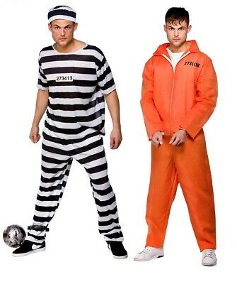 Mens Prisoner Convict Costume Inmate Adults Fancy Dress • 11.99£