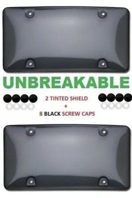 $8.25 • Buy 2x Bubble Tinted- Smoke License Plate Tag Frame Cover Shield Car Truck