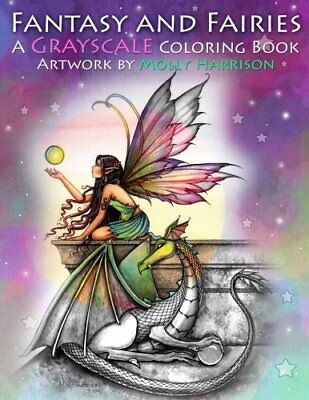Fantasy And Fairies Greyscale Adult Colouring Book Dragons Mermaids Magical Gift • 10.99£
