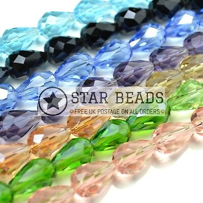 Faceted Teardrop Crystal Glass Beads Pick Colour - 5x7 8x11 10x15 12x18mm • 2.65£