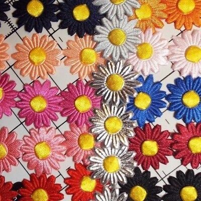 20pcs - Iron On/Sew On -Satin Daisy Flower Motif -Appligue,Trimmings - 2cm X 2cm • 2.99£