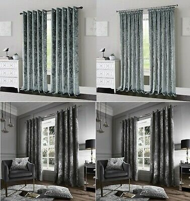 Luxury Crushed Velvet Curtains Ready Made Lined Eyelet Ring Top Or Pencil Pleat • 31.99£