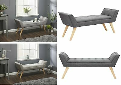 Milan Upholstered Bench Window Seat - Black Leather Grey Hopsack Silver Chenille • 115.95£
