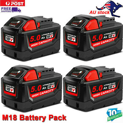 AU42.99 • Buy 18V Battery For Milwaukee M18 M18B4 48-11-1840 48-11-1828 XC Max Lithium 5.0Ah