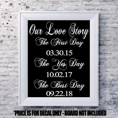 $13 • Buy Custom Wedding Decal Our Story Date Personalized Vinyl Sign Mirror Chalk Board