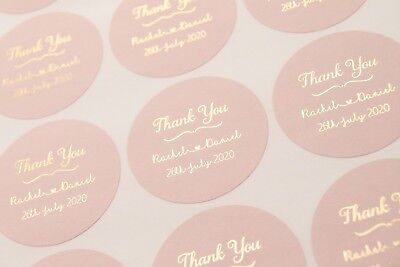 £7 • Buy Thank You Stickers * Wedding Labels * Foil Personalised Stickers * Blush Pink