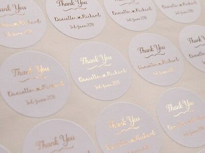 Thank You Stickers * Wedding Labels * Foil Personalised Stickers * White * • 7£