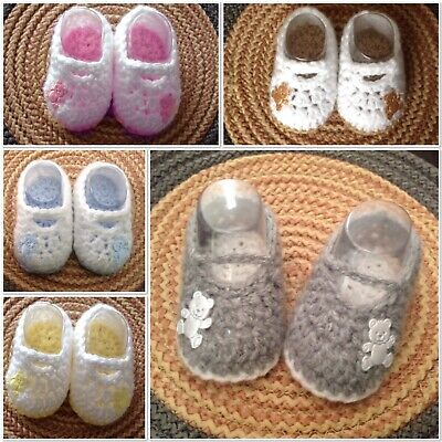 Hand Crochet Baby Boy Girl Booties Shoes Silver Grey Blue Pink 0-6m Christmas • 3.75£