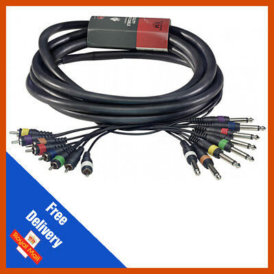 8-Way 15m 6.35mm 1/4  Mono Jack To RCA Phono Loom | Patch Multicore Cable • 52.99£