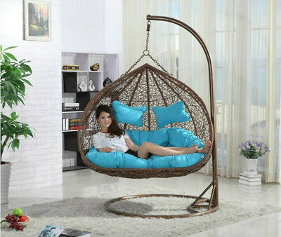 Hanging Rattan Double Swing Chair With Cushion & Stand Rattan (ORANGE CUSHIONS) • 616.49£