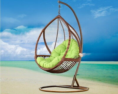 Hanging Swing Chair With Arm Rest , Cushion & Stand Rattan LARGE  • 354.15£