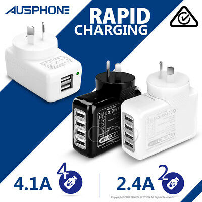 AU16.75 • Buy 4.1A USB Wall AC Charger Plug Adapter IPhone XS Max XR  Samsung S9 S10 Note 10