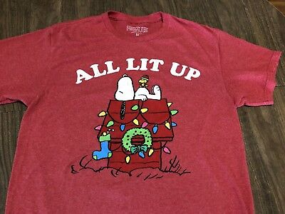 £10.61 • Buy Peanuts Snoopy Doghouse All Lit Up Christmas Lights Medium Red T Shirt