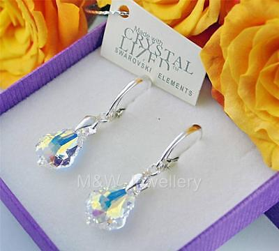 £13.99 • Buy 925 Sterling Silver Earrings Crystals From Swarovski® BAROQUE Crystal AB 16mm