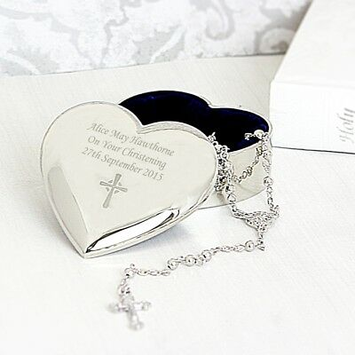 PERSONALISED 1st First Holy Communion Rosary Beads Heart Trinket Box Gift • 17.99£