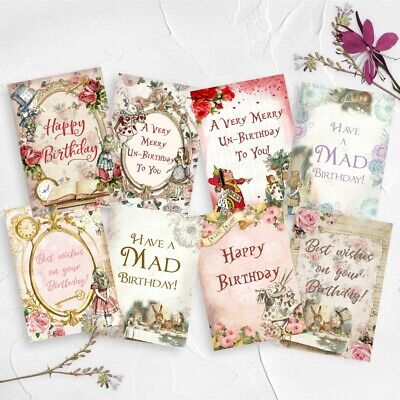 Alice In Wonderland Birthday Card Toppers, Sentiments Cards,Cardmaking Greetings • 3£