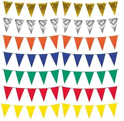 £2.99 • Buy 10m Long Bunting Plastic Triangular Garland Double Sided Happy Birthday Party