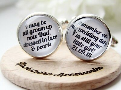 £9.99 • Buy Still Your Little Girl Personalised Dad Father Of The Bride Wedding Cufflinks