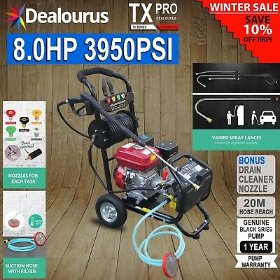 Petrol Pressure Washer  8.0HP 3950psi AWESOME POWER T-MAX PRO 28 METER HOSE  • 339.90£
