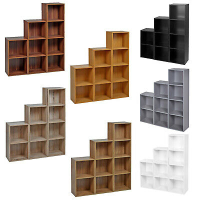 Cube, 2, 3 Or 4 Tier Wooden Bookcase Shelving Display Storage Shelf Unit Wood • 19.99£