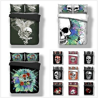Gothic Skull Duvet Cover Bedding Set With Pillow Cases Single Double King Sizes • 27.99£