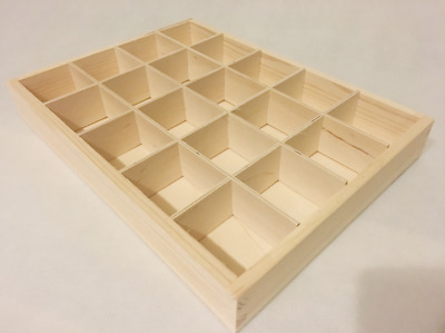 Wooden Tray Box 20 Compartment Display Storage Section Jewellery Keepsake  20-BW • 12.99£