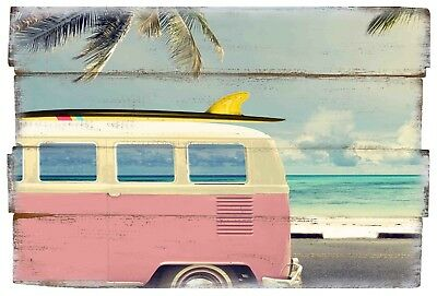 £7.99 • Buy Surf Bus Wooden Pink VW Camper Van Sign Printed Wall Art Decoration With Rope